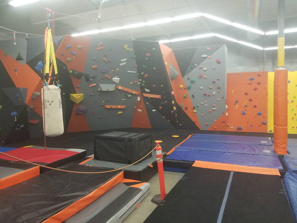 Our Bouldering wall closer to how it normally looks.