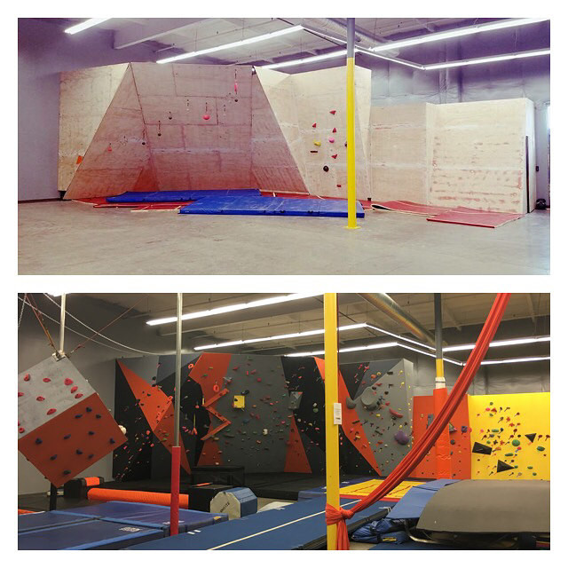 Before and after of the climbing wall with paint and without