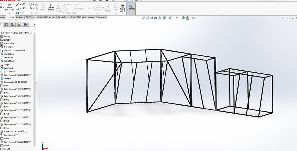 Solidworks climbing wall design