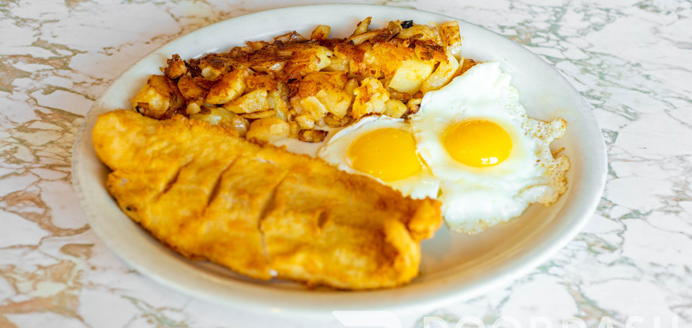 Fried Fish with Eggs and Home Fries