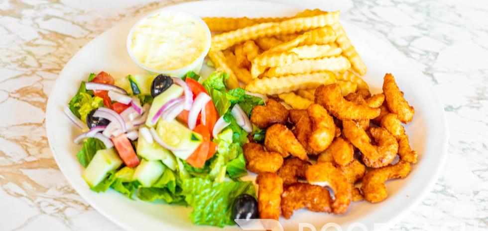 Fried Shrimp with salad and fries
