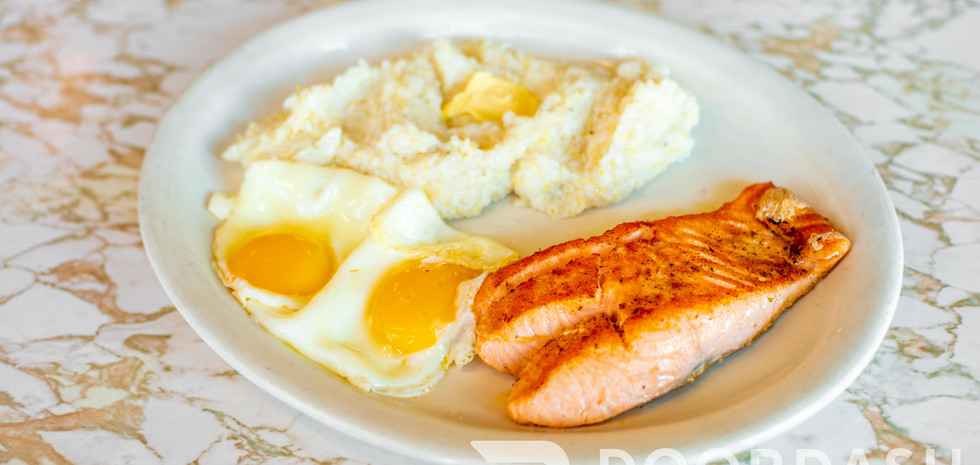 Salmon, Eggs, and Grits