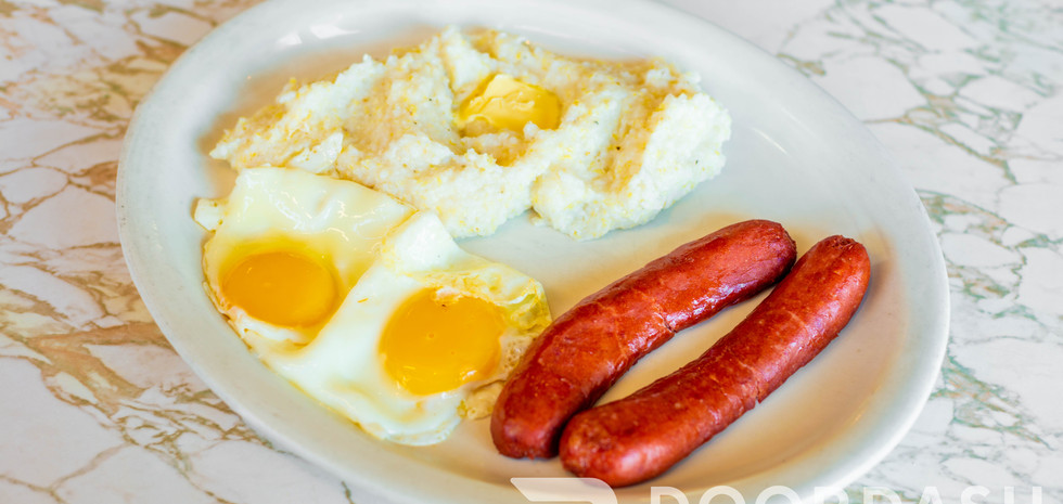 Order eggs any style with your choice of home fries or grits & choice of meat!