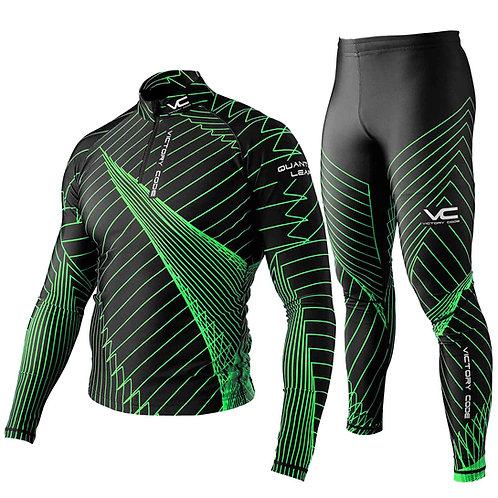Лыжный комбинезон Quantum, унисекс, черно-зеленый