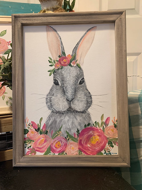 Gray rabbit painting