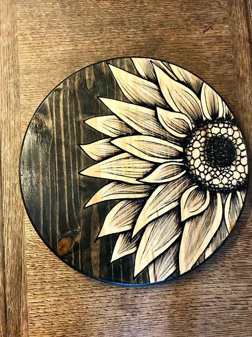 Half Round Sunflower- Lazy Susan, Tray or Wall-Art