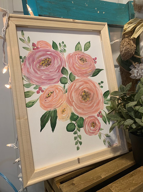 Blush Floral Acrylic painting