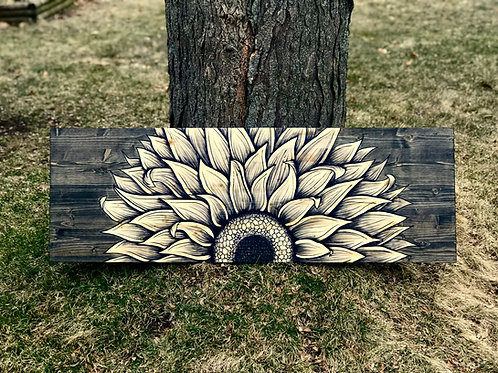 "48"" Half Sunflower Art"