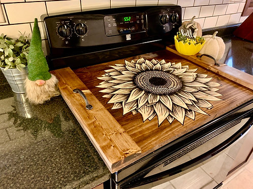 Wood Sunflower Oven Cover