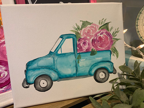 Turquoise spring truck