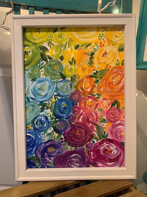 Rainbow floral canvas