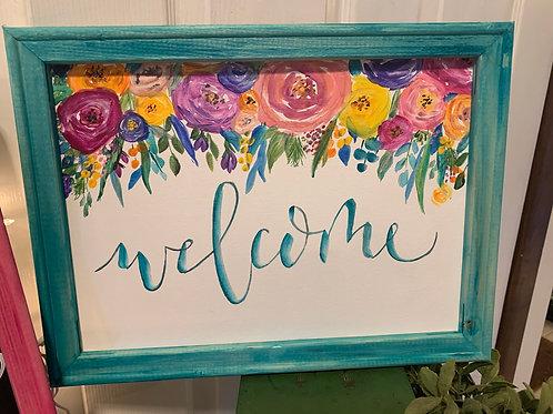 Aqua framed floral welcome sign
