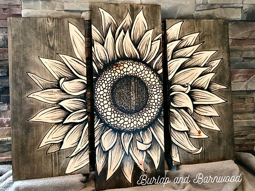Triple-Panel Sunflower Art