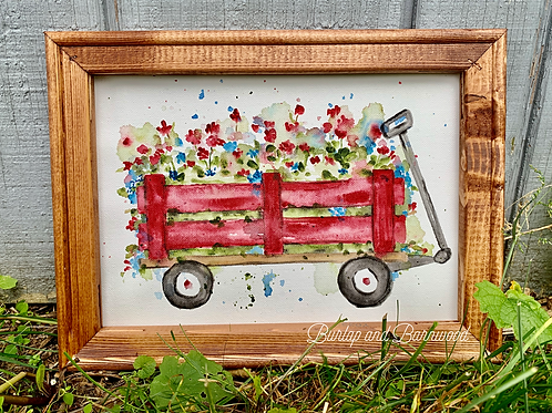 Watercolor Red Wagon