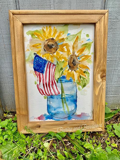 Watercolor Sunflower Flag Mason Jar