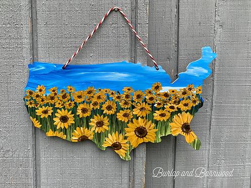Sunflower USA Handpainted Cutout