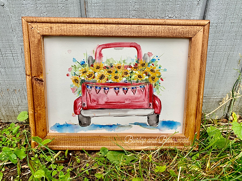 Watercolor Sunflowers in Red Truck