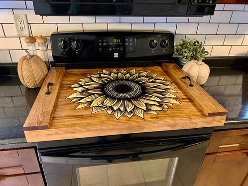Gas Stove Wood Sunflower Oven Cover