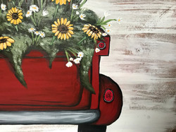 Red Truck with Sunflowers