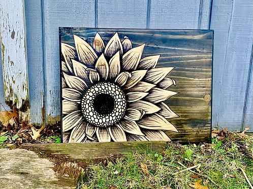 Large 3/4 Sunflower Art