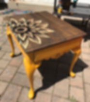Yellow Sunflower End Table