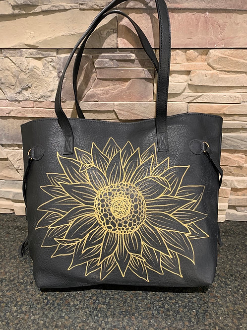 Full Sunflower Tote- Black or Brown