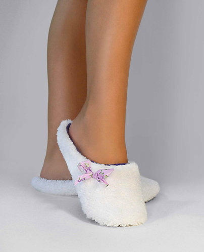 "Тапочки - шлепки th 04 ""White"" с фиолетовым"