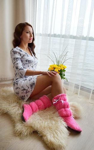 """Махровые тапочки-cапожки tm 06 """"Pink"""""""