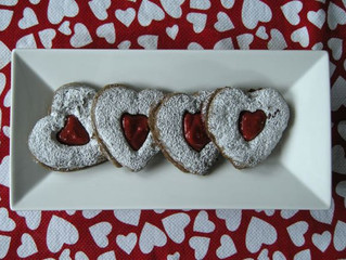 Buckwheat Linzer Cookies with Strawberry Gel*