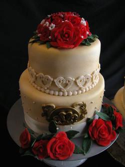 Vintage / French Script Engagement Cake