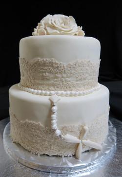 's Communion Cake Head on Shot