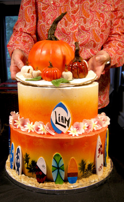 Pumpkins and Surfboard Themed Birthday Cake