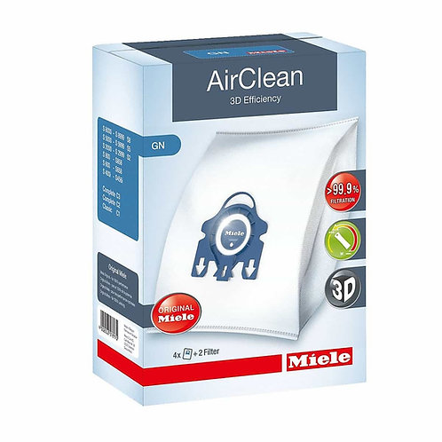 Miele GN AirClean 3D Efficiency Dust Bags for Vacuum, 4 bags & 2 Filters