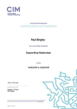 CIM Copywriting Masterclass Certificate