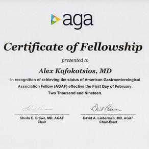 Ανακήρυξη σε Fellow της Αμερικανικής Γαστρεντερολογικής Εταιρείας