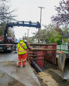underground services hiab crane truck trench shoring cage