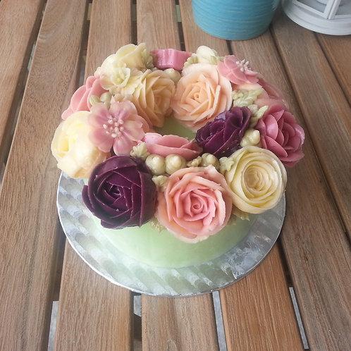 Botercrème bloemen taart 3