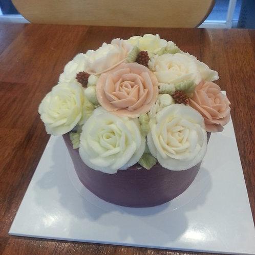 Botercrème bloemen taart 1