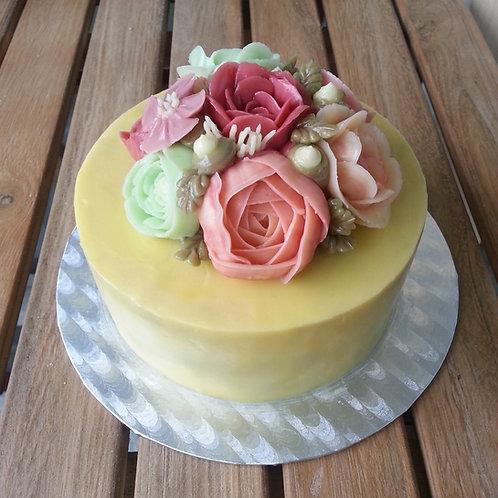 Botercrème bloemen taart 5