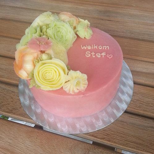 Botercrème bloemen taart 4