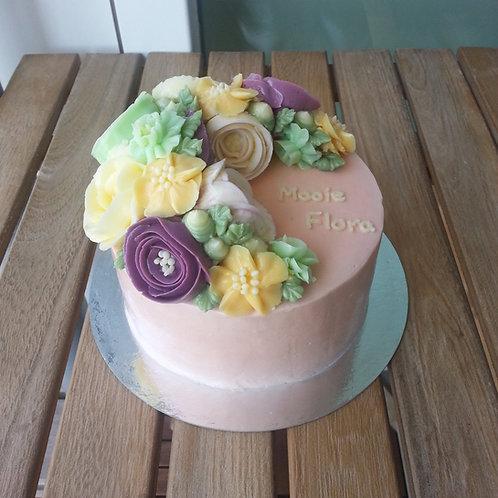 Botercrème bloemen taart 6