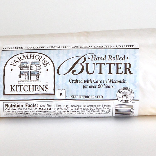 Hand Rolled Butter, Unsalted, 1lb