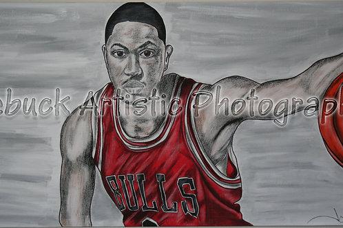 "Chicago Bulls - Derrick Rose ""24 x 48 painting"""