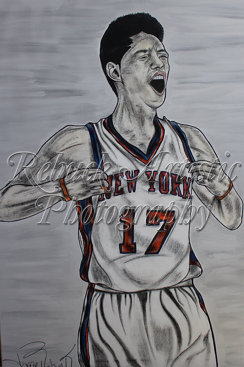 """Throwback - Jeremy Lin """"24 x 36 painting"""""""