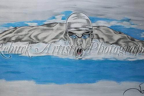 "Michael Phelps ""24 x 48 painting"""