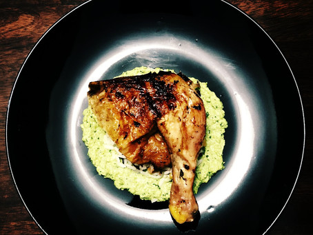 beer can chicken with rice and pea purée