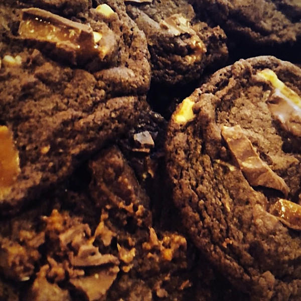 Triple Chocolate Skor Cookies