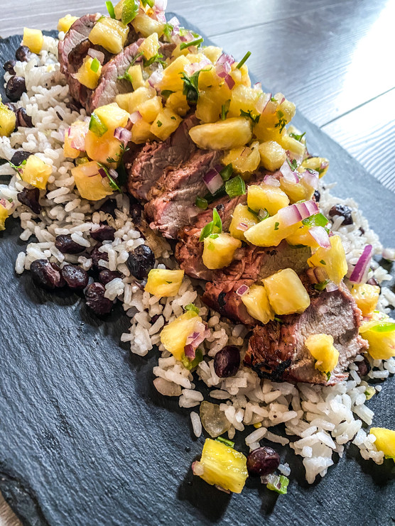 Tequila Citrus Pork Tenderloin with Pineapple Salsa and Dirty Rice