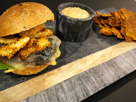 Portobello Burger with Sweet Potato Chips