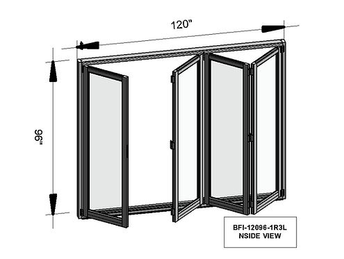 B70 Series| Teza Aluminum Bifold Door| 120″x96″